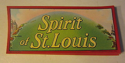 Lot of 50 Original Old Antique SPIRIT Of ST. LOUIS - CIGAR End LABELS N.Y. PARIS