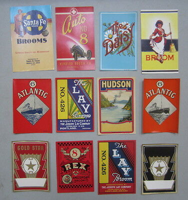 Lot of 12 Old Vintage 1920's-1940's - BROOM LABELS - All Different