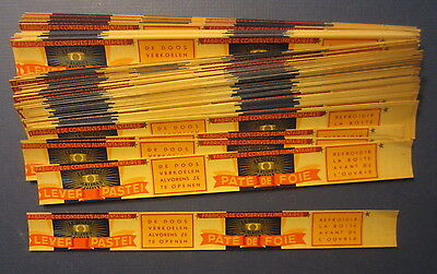 """Wholesale Lot of 100 Old Vintage 1930's - LIVER PATE - CAN LABELS - 1"""" x 9 3/4"""""""