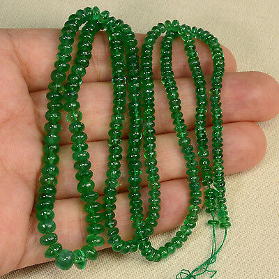3.2mm-6mm Zambian EMERALD Smooth Plain Rondelle Beads 22.5 inch strand