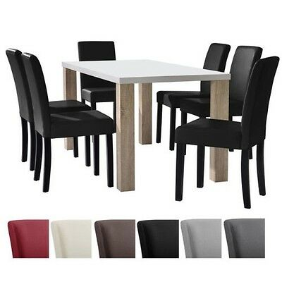 en.casa Dining table white 160x90 with Set Of 6 Chairs room group