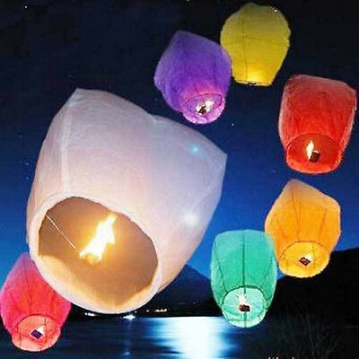 10pcs Fly Lanterns Chinese Paper Wish Lamp Sky Candle Flying Fire Party Kongming
