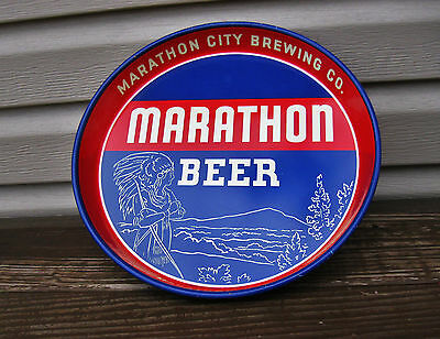"(Vintage) Marathon Beer 12"" Metal Tin Litho Tray Wi Indian Chief Condition City"