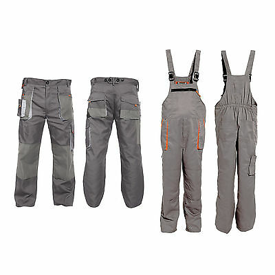 Bib and Brace Overalls Mens Work Trousers Knee Pad Dungarees Multi Pockets Grey