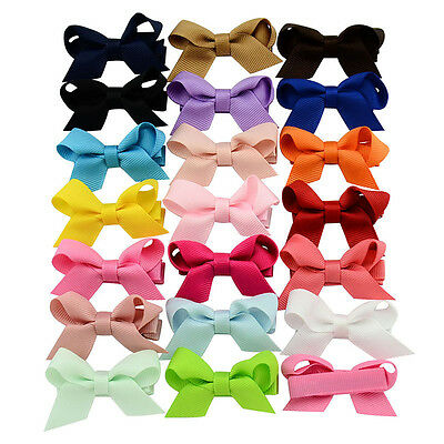 20 Pcs Polyester 2.4in Toddler Baby Girls Kids Ribbon Bows For Hair Clips