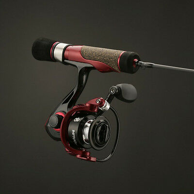 "NEW No. 8 Tackle IC28M Infrared Ice Combo 3BB IAR Reel 28"" Med Fiberglass Blank"