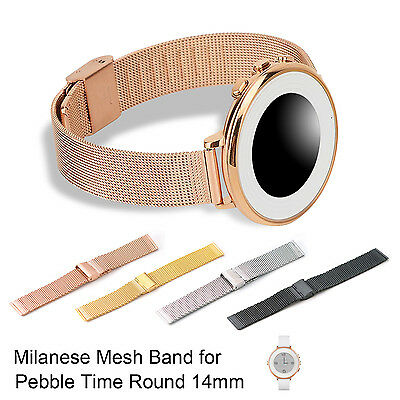 Stainless Steel Milanese Mesh Watch Band Strap for Pebble Time Round 14mm, Tools
