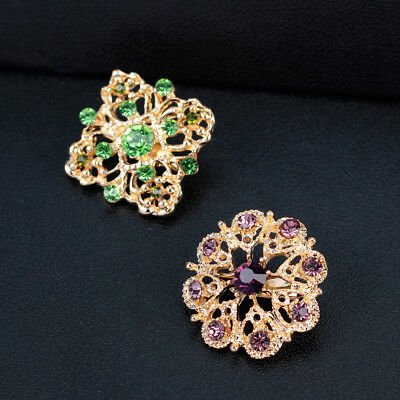 12 X Wholesale Lot Crystals Rhinestone Brooches Flower Brooch Pins Bouquet AB165