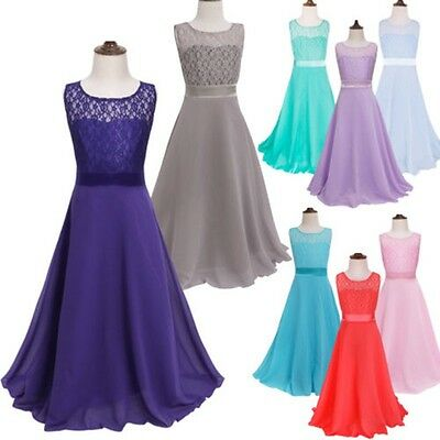 Lace Flower Girl Kid Wedding Bridesmaid Formal Party Pageant Prom Princess Dress