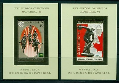 Equatorial Guinea Michel BLK 211-212B Imp MNH Gold Olympics 1976 Montreal $$