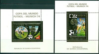 Equatorial Guinea Michel BLK 80-81A MNH Gold World Cup 1974 Germany Soccer $$