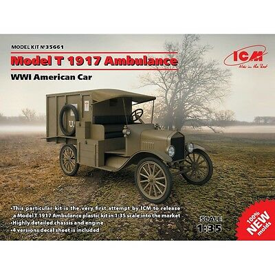 Icm 35661 Ford Model T 1917 Ambulance, Wwi American Car 1/35