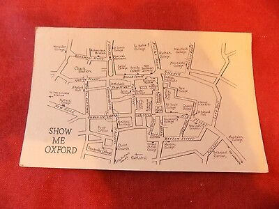 VINTAGE OXFORDSHIRE: OXFORD Map card show me Oxford b&w 1952