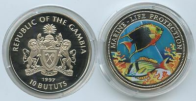 GS326 - Gambia 10 Bututs 1997 Fische Marine Life Protection Multicolor