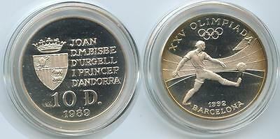 G0401 - Andorra 10 Diners 1989 KM#56 Silber Olympia Barcelona 1992 PROOF