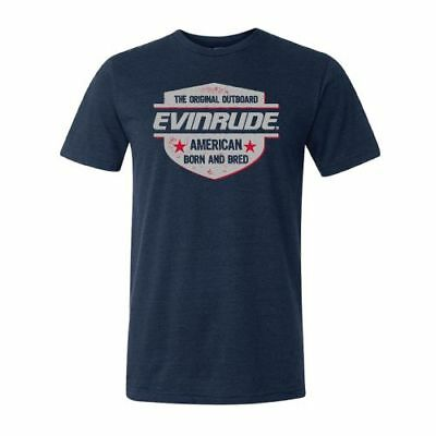 BRP Evinrude Outboard American Born & Bred Short Sleeve Navy T-shirt