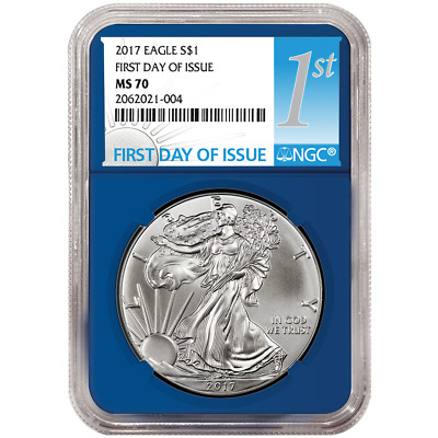 2017 $1 American Silver Eagle NGC MS70 FDI First Label Blue Core