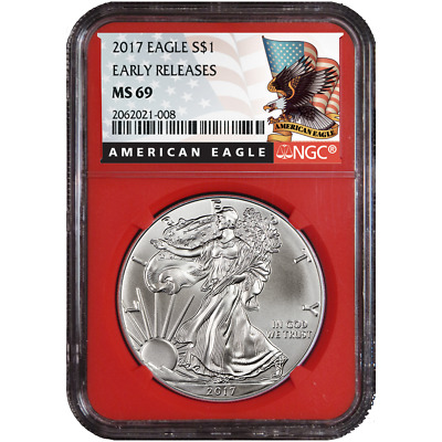 2017 $1 American Silver Eagle NGC MS69 Early Releases Black ER Label Red Core