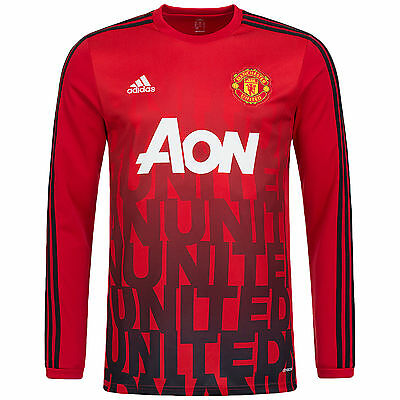 adidas Performance Mens Manchester United MUFC Football Long Sleeve Jersey Top