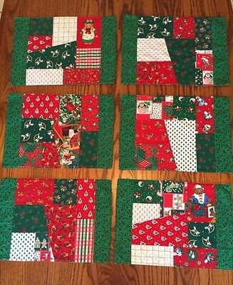 Handmade CHRISTMAS HOLIDAY PLACEMATS - Set of 6 - CRAZY Quilt Design