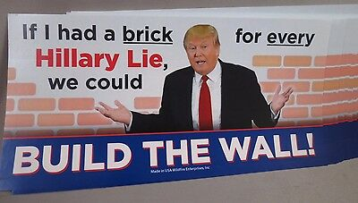 LOT OF 20 BUILD THE WALL TRUMP STICKERS  Anti Hillary Brick for every Lie Liar