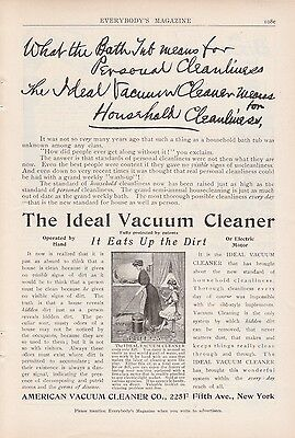 1909 American Vacuum Cleaner New York NY Ad: Ideal Vacuum Cleaner Eats Up  Dirt