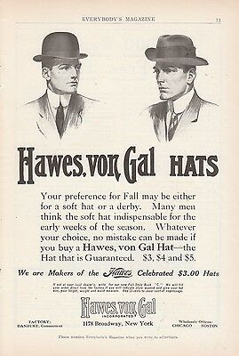 1909 Hawes von Gal Inc New York NY Ad: Makers of the Hawes Celebrated $3 Hat