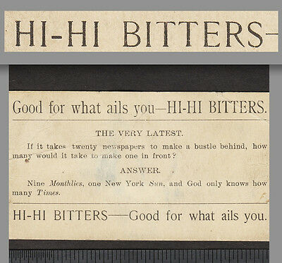 Hi-Hi Bitters Good For What Ails You Bustle Pun Puzzle Advertising Trade Card