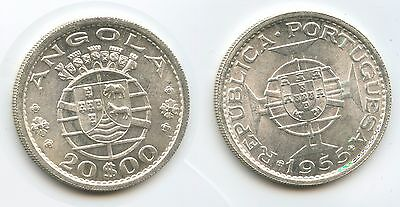 G1119 - Angola 20 Escudos 1955 KM#74 Silver UNC Condition Portuguese Colony