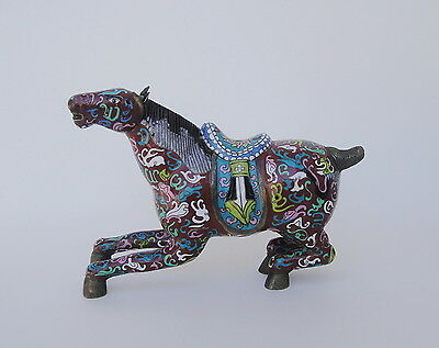 Large Antique Chinese Cloisonne Horse Statue