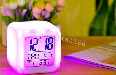 Digital Alarm Thermometer Night Glowing Cube 7 Colors Clock LED Change LCD USA