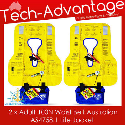 2 X Adults 100N Waist Belt Offshore Pfd Inflatable Boat Life Jacket - As4758.1