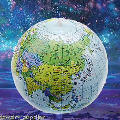 """16""""English Globe Inflatable Earth World Geography Teacher Aid Ball Toy Xmas Gift"""