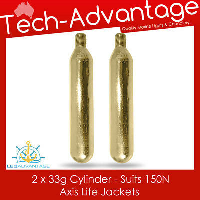 2 X AXIS 33g 150N LIFE JACKET PFD  INFLATABLE REPLACEMENT RECHARGE GAS CYLINDERS
