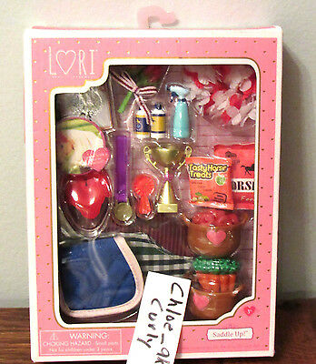 """Lori Doll SADDLE UP Horse Food Feed Blankets trophy Accessories 6"""" NEW!"""