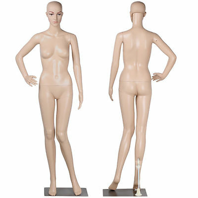 New Female Mannequin Plastic Realistic Display Head Turns Dresses Form w/ Base
