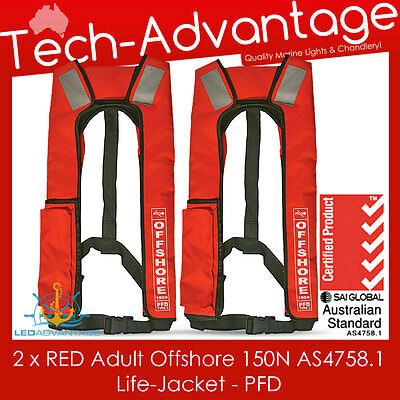 2 X Adult Red 150N Offshore Pfd Inflatable As Approved Boat Life Jackets