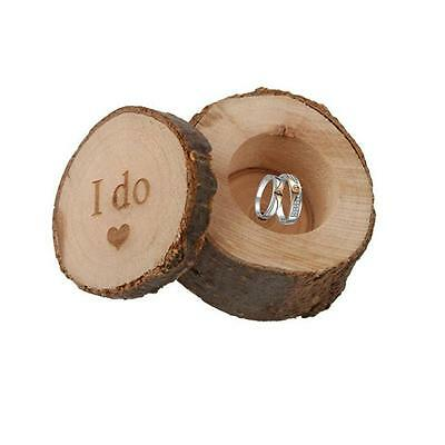 2016 Hot Shabby Wooden Round I do Rustic Country Wedding Ring Box Holder Pillow