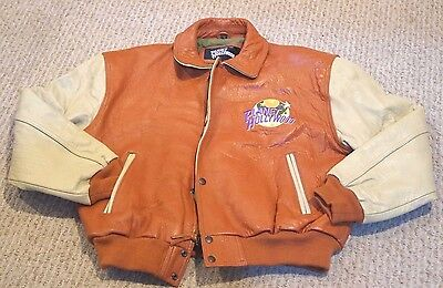 Planet Hollywood Aspen Leather Bomber Jacket Sz L Large Embroidered