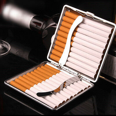HOT Fashion Black Leather Metal Tobacco 20 Cigaret Cigarette Case Box Holder US