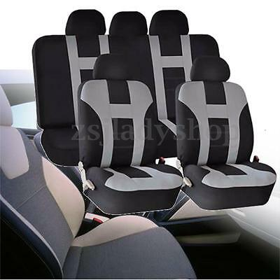 Universal Car Seat Covers Protectors 9 Piece Set Washable Front Rear Grey&Black