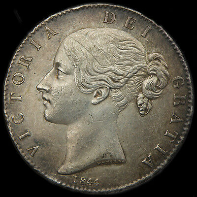 A EXCELLENT QUEEN VICTORIA 1844 SILVER CROWN.... STAR STOPS.. Nice Extra Fine.