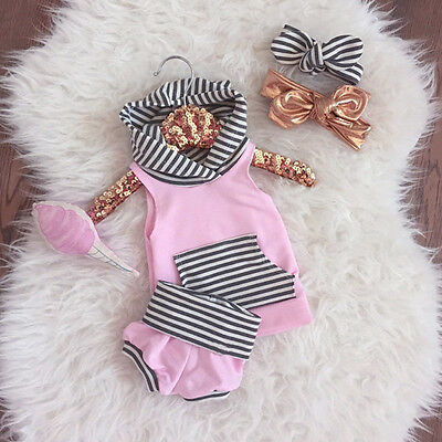 Newborn Baby Girls Boy Hooded Tops Vest+ Pants Shorts Outfits Set Clothes New