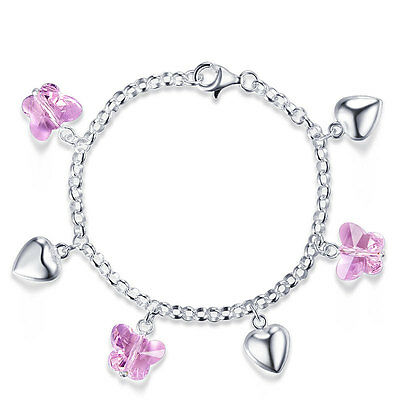 Solid 925 Sterling Silver Pink Butterfly Hearts Bracelet Baby Kids Girl FB8004