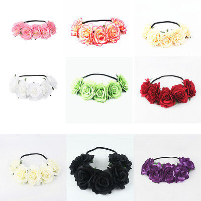 Large Rose Flower Hair Crown Garland Vintage Headband Boho Festival Hairband