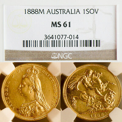 RARE QUEEN VICTORIA 1888 Melbourn GOLD SOVEREIGN ...NGC  Mint State 61