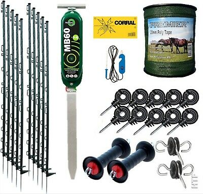 Electric Fence Starter Kit With Fenceman Energiser 4.5Ft Green Posts & 20Mm Tape