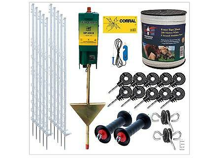 Electric Fence Starter Kit With Fenceman Energiser 4.5Ft White Posts & 20Mm Tape