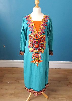 Vintage 70's Embroidered Kaftan Style Dress Retro Boho Folk Hippy Gypsy 10