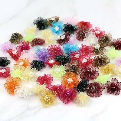 30mm DIY 10-50-100PCS Satin Ribbon Flower with pearl Wedding Appliques/Crafts
